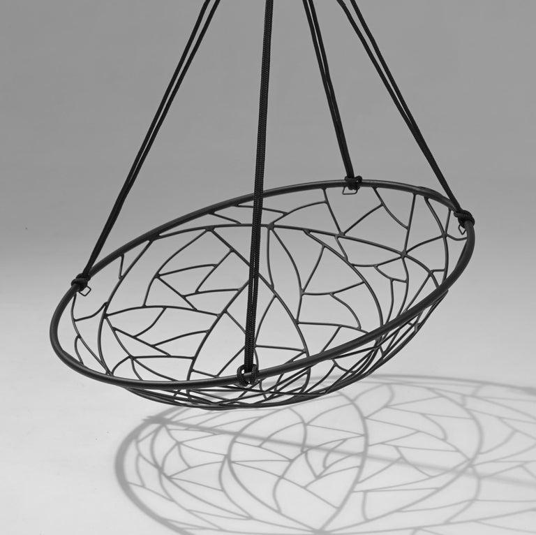 Welded Basket Hanging Swing Chair Modern Steel 21st Century Twig In/Outdoor Black For Sale