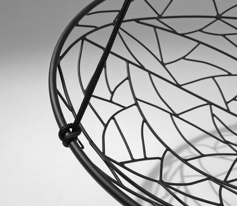 Basket Hanging Swing Chair Modern Steel 21st Century Twig In/Outdoor Black In New Condition For Sale In Johannesburg, ZA