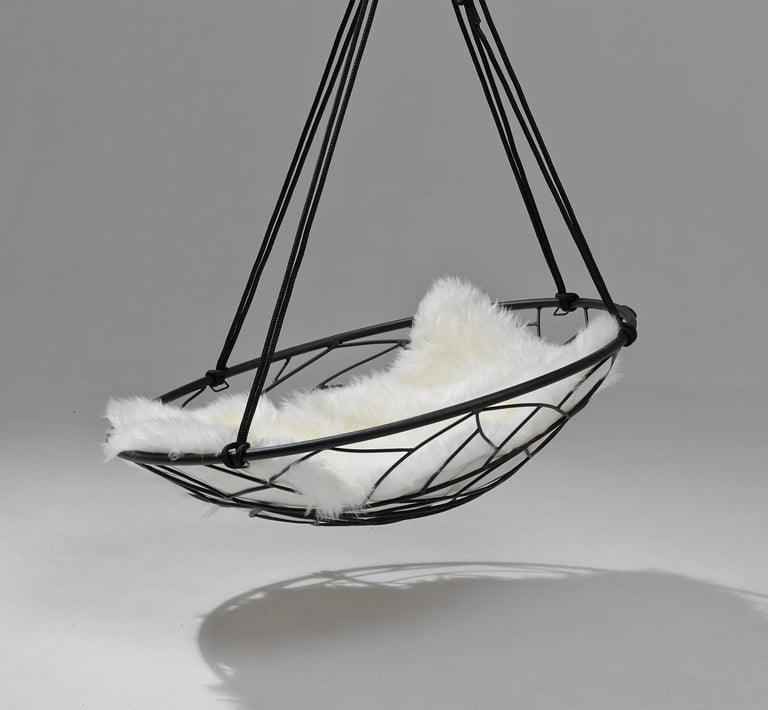 Contemporary Basket Hanging Swing Chair Modern Steel 21st Century Twig In/Outdoor Black For Sale