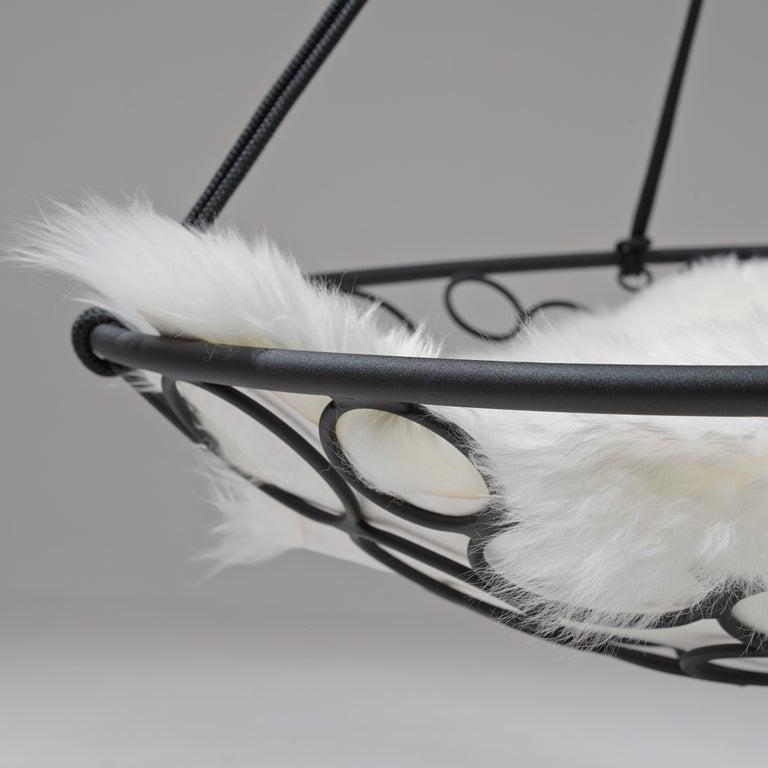 Basket Hanging Swing Chair Modern Steel 21st Century Twig In/Outdoor Black For Sale 1
