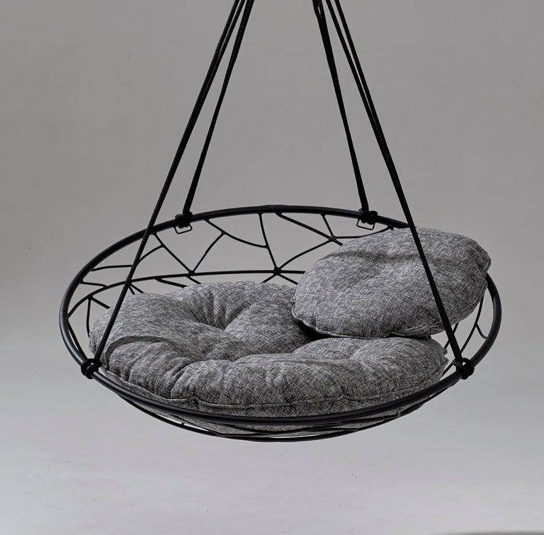 Basket Hanging Swing Chair Modern Steel 21st Century Twig In/Outdoor Black For Sale 2