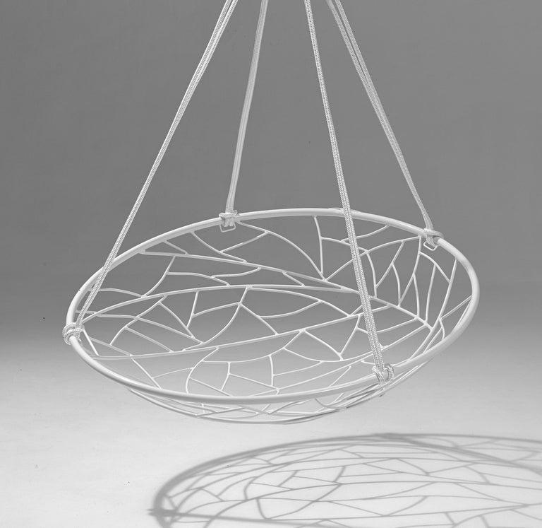 Basket Hanging Swing Chair Modern Steel 21st Century Twig In/Outdoor Black For Sale 3