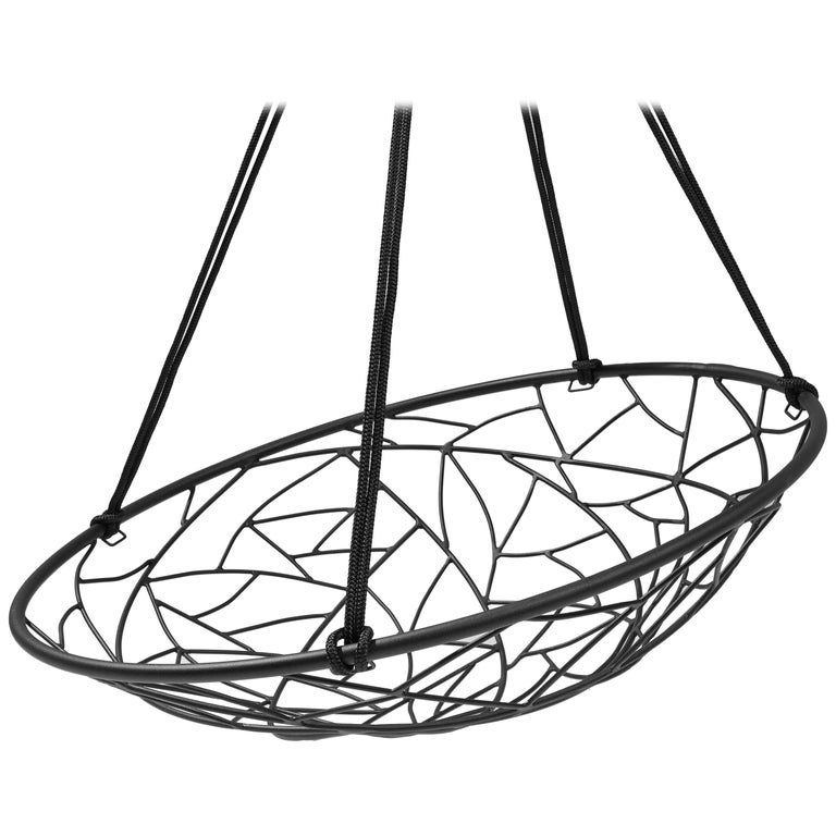 Basket Hanging Swing Chair Modern Steel 21st Century Twig In/Outdoor Black For Sale