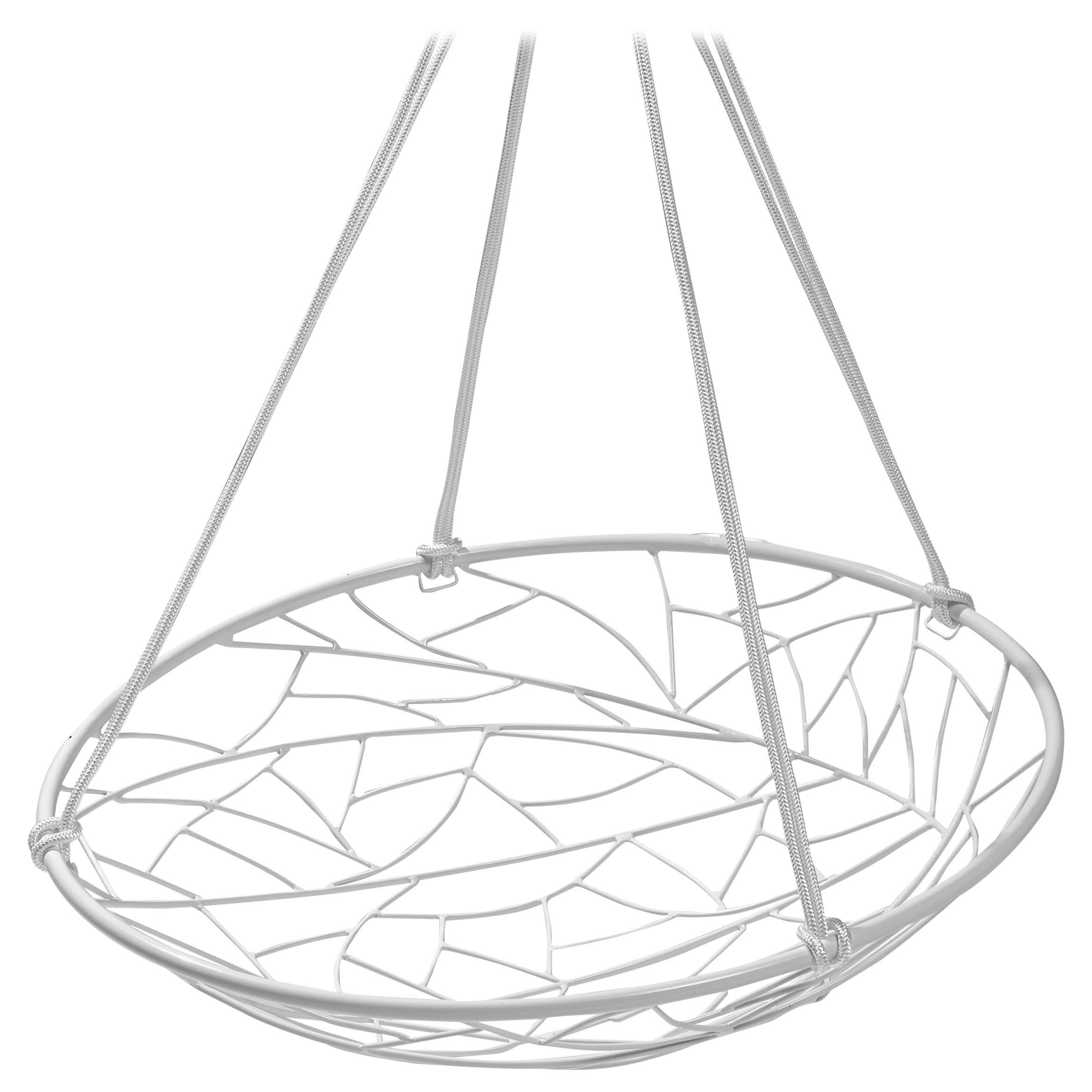 Basket Hanging Swing Chair Modern Steel Twig In/Outdoor White