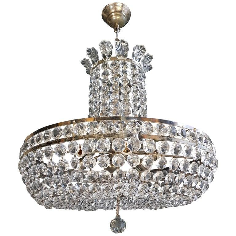 Basket Silver Modern Art Deco Chandelier Crystal Re Ceiling Lamp Antique For At 1stdibs