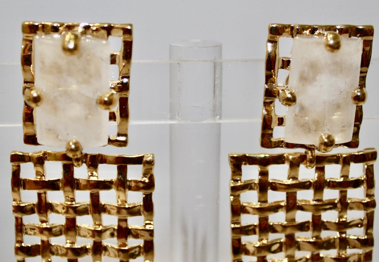 Modern Basket Weave 24-carat Gilded Bronze and Rock Crystal Earrings For Sale