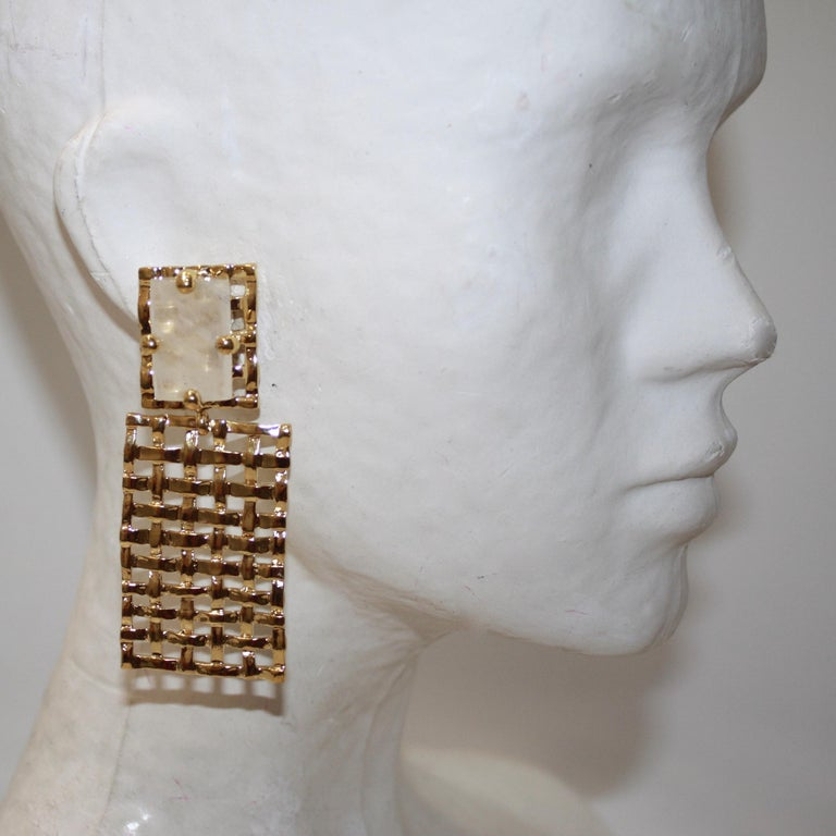 Emerald Cut Basket Weave 24-carat Gilded Bronze and Rock Crystal Earrings For Sale
