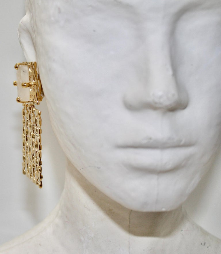 Women's or Men's Basket Weave 24-carat Gilded Bronze and Rock Crystal Earrings For Sale