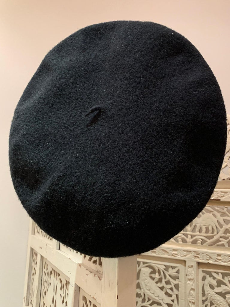 Basque Classic French Black Wool Felted Beret For Sale 2