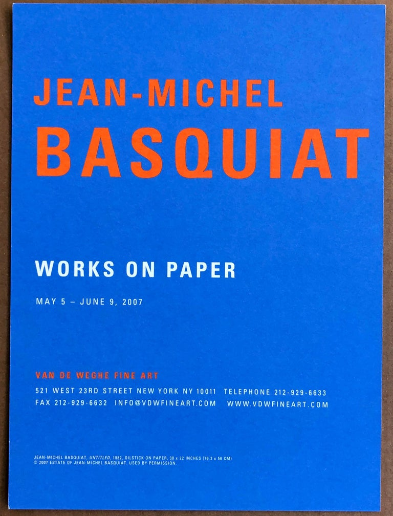 Set of 2 vintage Basquiat New York Gallery announcement cards   Off-set printed invites, circa mid-2000s Larger measures approximately 6 x 9 inches Each very good condition   Related categories: Basquiat prints. Basquiat posters.