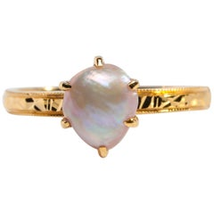 Basra Pearl Ring of Spectacular Color and Quality Certified Natural