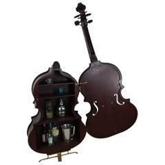 Bass Fiddle Cello Liquor Storage Cabinet