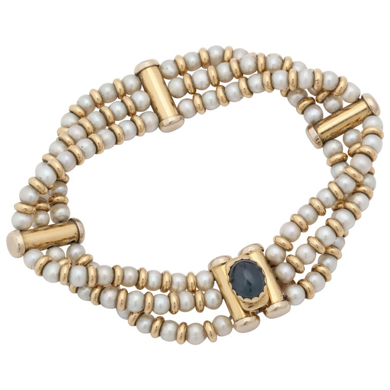 Bassani 1990s Pearl with Cabochon Sapphire Gold Rondelles Pearl Bracelet For Sale