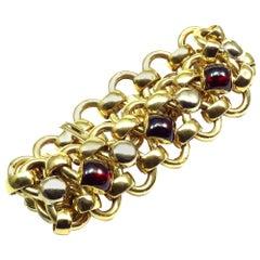 Bassani Italian 18 Karat Yellow Gold Almandine Bracelet