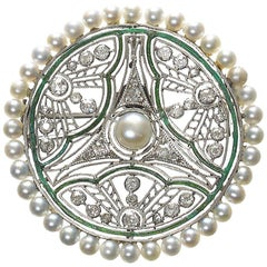 Basset & Moreau Diamond and Pearl Brooch, circa 1910