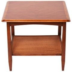 Bassett Furniture Mid-Century Modern Wood End Table with Rattan-Lined Shelf