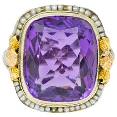 Bassett Jewelry Co. Art Deco 13.34 Carat Amethyst Natural Pearl 18K Gold Ring