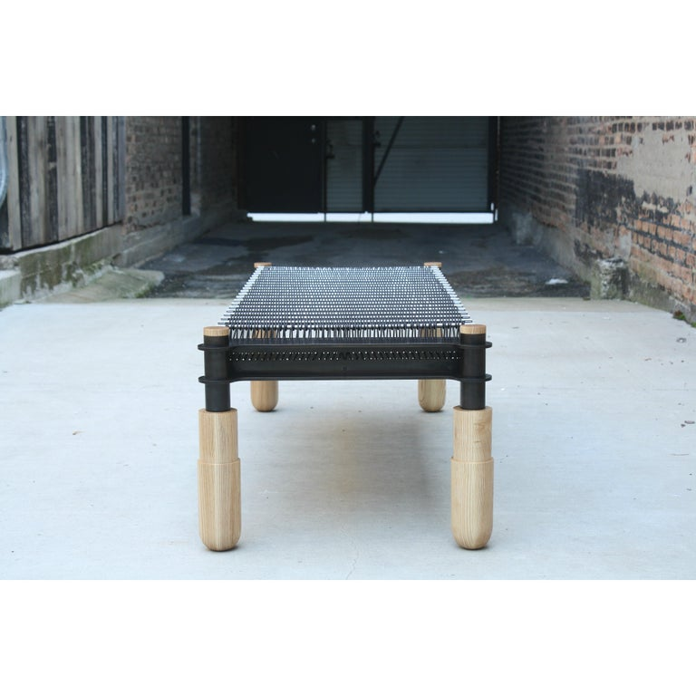 American BASSO Ash, Leather and Steel bench by Laylo Studio For Sale