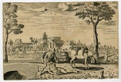 The scene of the Good Samaritan by Pieter Bast - Engraving - 16th Century