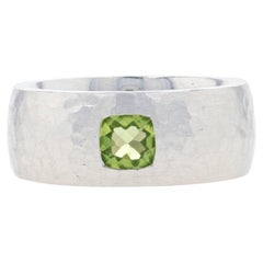 Bastian Inverun Peridot Hammered Statement Band Sterling, 925 Solitaire Ring