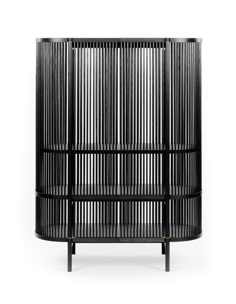 Scandinavian Modern Bastone Cabinet in Black with Doors For Sale