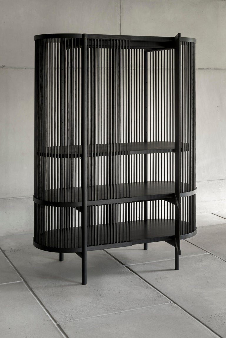 Finnish Bastone Cabinet in Black with Doors For Sale