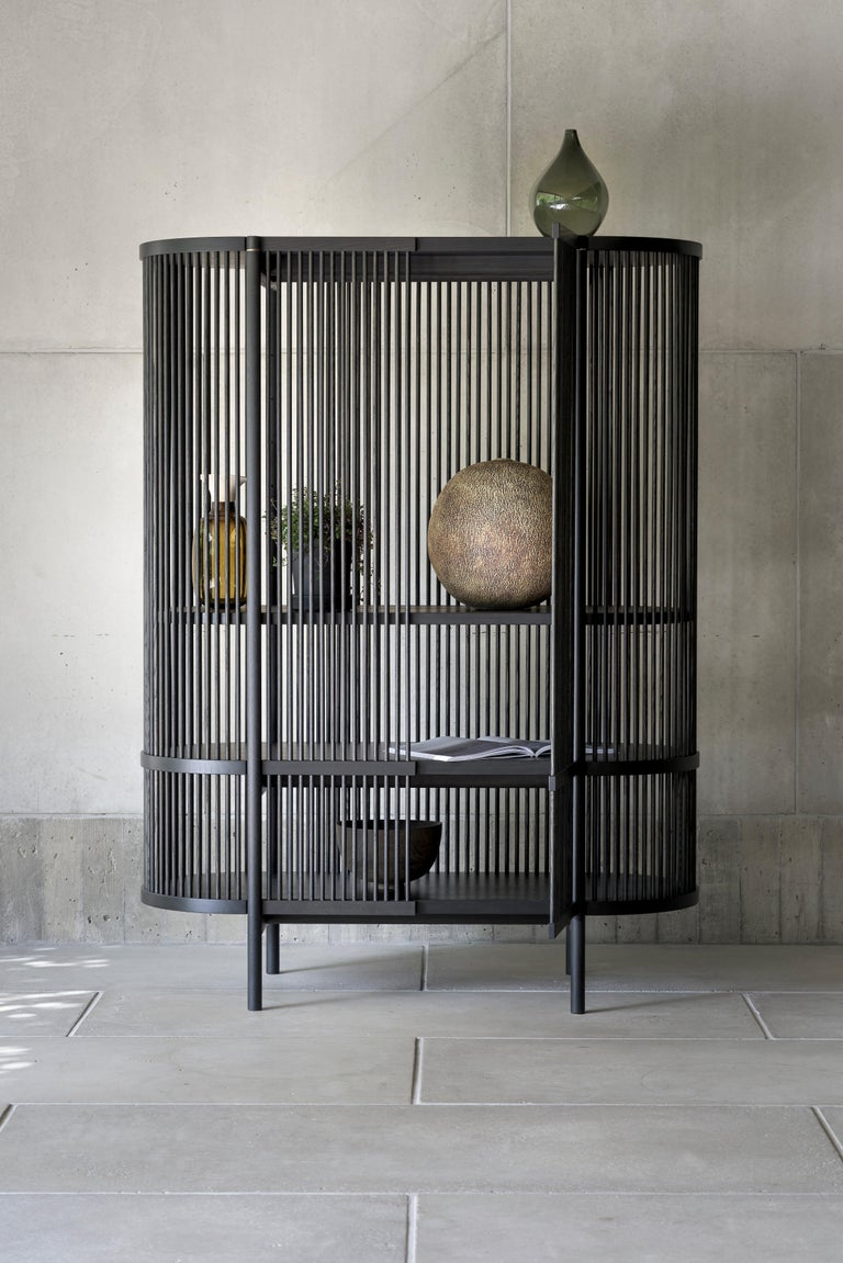 Woodwork Bastone Cabinet in Black with Doors For Sale