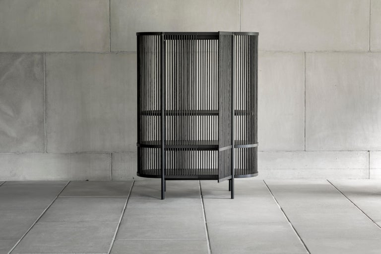 Contemporary Bastone Cabinet in Black with Doors For Sale
