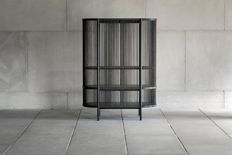 Oak Bastone Cabinet in Black with Doors For Sale
