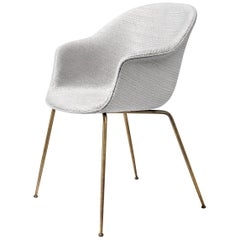 Bat Dining Chair, Fully Upholstered, Conic Base, Semi Matte Brass