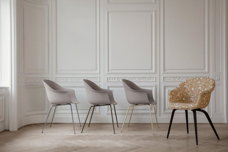Danish Bat Dining Chair, Fully Upholstered, Walnut Base For Sale