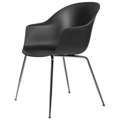 Bat Dining Chair, Un - Upholstered,  Conic Base, Black Chrome