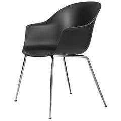 Bat Dining Chair, Un-Upholstered, Conic Base, Brass Semi Matte
