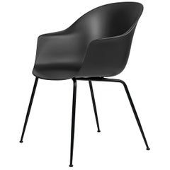 Bat Dining Chair, Un-Upholstered, Conic Base, Matte Black