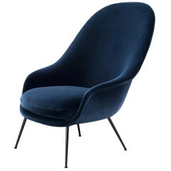Bat Highback Lounge Chair, Fully Upholstered, Conic Base, Black Chrome
