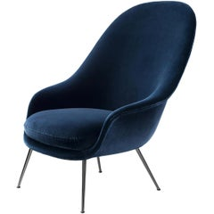 Bat Highback Lounge Chair, Fully Upholstered, Conic Base, Matte Black