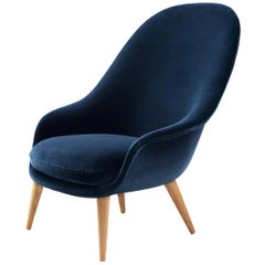 Bat Highback Lounge Chair, Fully Upholstered, Oak Base