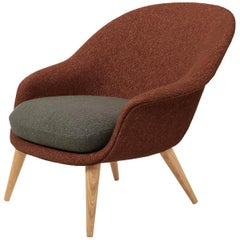 Bat Low Back Lounge Chair, Fully Upholstered, Oak Base