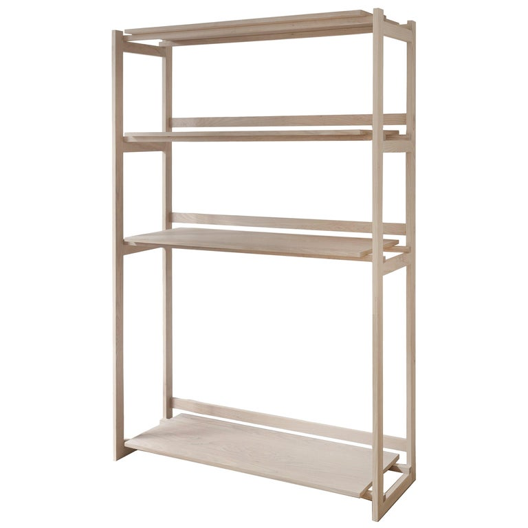 Batea Ash Wood Bookcase with White Oak Veneer Shelves For Sale
