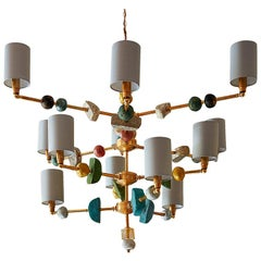 Bateman 21st Century Chandelier, Brass with Sculpted Spheres by Margit Wittig