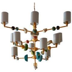 Bateman 21st Century Chandelier, Brass with Sculpted Spheres by Margit Wittig