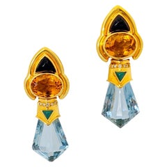 Baten 18 Karat Gold Retro Earrings with Blue Topaz Green Agate Citrine and Onyx