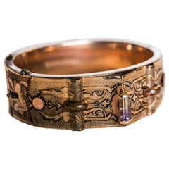Bates and Bacon 10k Gold Cuff with Ametrine 14k Gold Capped Baguette