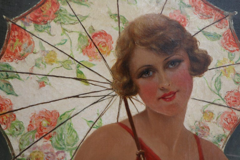 French Bather with Sunshade by F. Martin-Kavel, France, Art Deco, 1920's For Sale