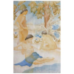 """""""Bathers,"""" a watercolor pochoir by circle of William Hentschel"""