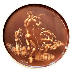 """""""Bathers at the Laguna Shore,"""" Large and Extraordinary Tray w/ Nude Male Figures"""
