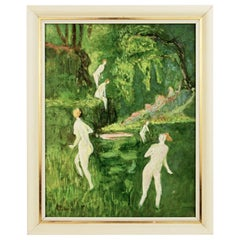 Bathers in a Forest Stream