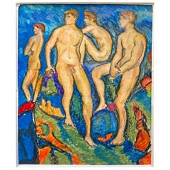 """Bathers,"" Oil Pastel Drawing with Four Nude Male Figures in Blue and Green"