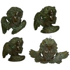 Batignani Firenze Mid-Century Italian Hand Painted Bronzed Ceramic Cherubs, 50s