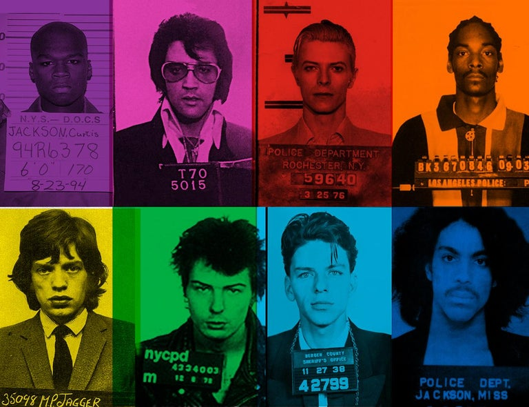 """Fun Loving Criminals by BATIK signed limited edition POP ART print   Paper Size Oversize 40 x 30"""" inches / 101 x 76 cm Signed & numbered by artist on front Archival Pigment print  Limited to 10 only   Featuring police arrest mugshot photos of Fifty"""
